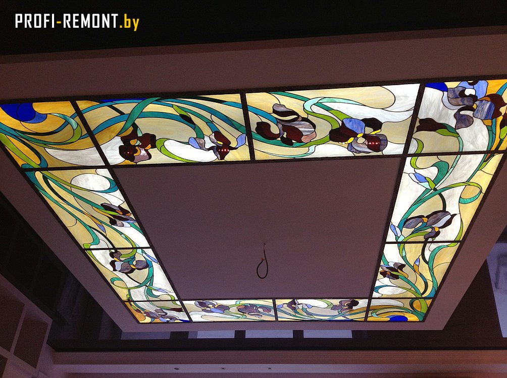 Витражный потолок с подсветкой своими руками 68
